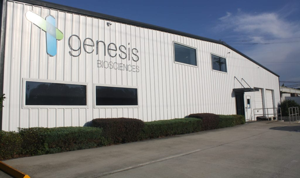 Genesis Biosciences US facility - exterior, September 2018