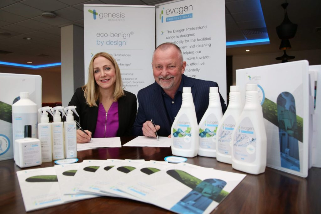 Dr Emma Saunders of Genesis Biosciences and Andy Bottrill of Admiral Cleaning Supplies, signing a distribution contract